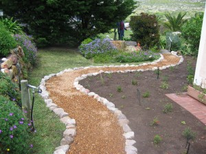 Rock-edged, gravel pathway